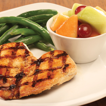 Grilled Chicken with green beans and fruit