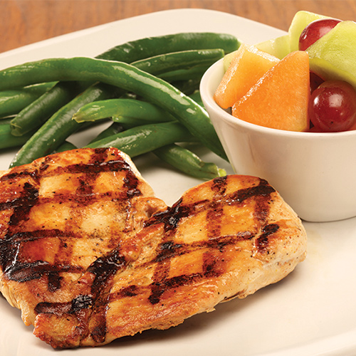 image of grilled chicken, beans, and fruit