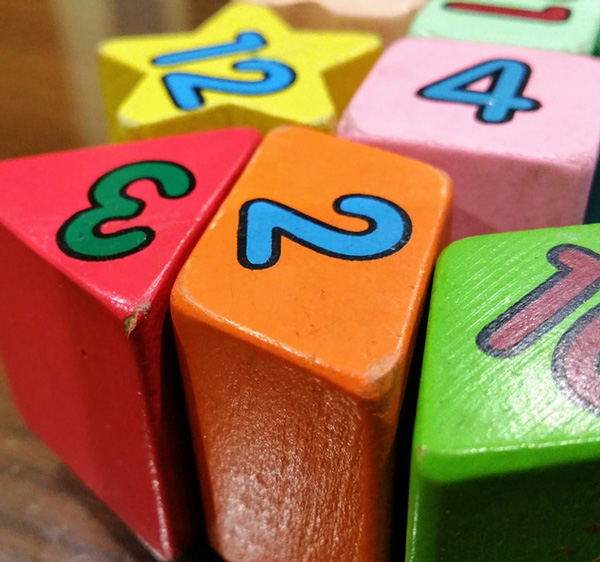 Children's number and shape block toys